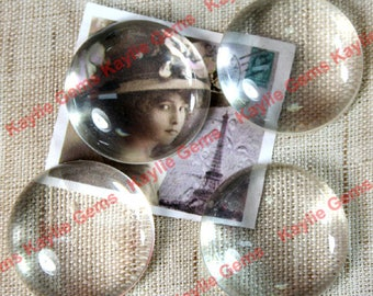 Premium Calibrated Clear Glass Cabochon 15mm, 14mm, 12mm, 10mm Round Flat Back Dome Top Hand Cut - BV18