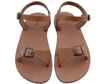 CLEARANCE SALE - Caramel Billa Leather Sandals - All Leather Sole  - Euro # 39 - Handmade Unisex Sandals, Genuine Leather, Sale