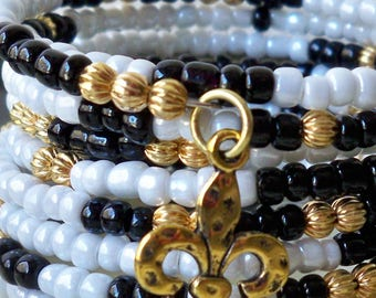 Seed Bead Wrap bracelet - White and Black Seed Beads - Gold Metal Beads - New Orleans Saints - Fleur de lis charms - bycat