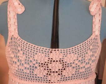 Pretty in Pink Knit Nightgown, with Hand-Crocheted, Vintage Yoke Design, M-L
