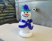 Glass Snowman Sculpture w...