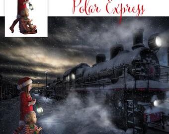 Christmas Digital Background, Photo Overlays, Background Replacement, Photography Backgrounds & Backdrops, Polar Express.