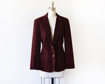burgundy corduroy blazer, vintage 1970s blazer, boho 70s blazer, medium women's blazer