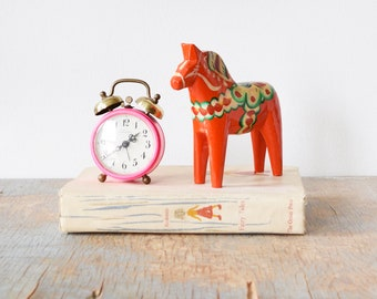 vintage Dala horse, mid century Nils Olsson Swedish wooden horse, Sweden folk art, Scandinavian home decor