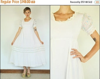 SUMMER SALE Vintage 70's Wedding Floral Embroidered Ribbon White Pastel Boho Tiered Crochet Maxi dress S M