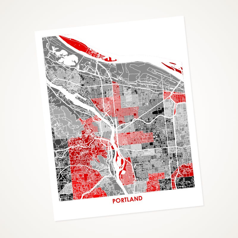 Portland map print choose your colors and size oregon for Ikea portland directions