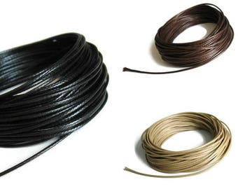 Silky Waxed Cotton Cord 1mm - Black, brown or beige - 10 meters / 32.8 ft  (C50)