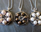 Necklace of Pinned Pearls in a Circle of Silver