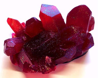 Ruby Red Geode Crystal Mineral Gemstone Rock Soap - Pomegranate Scented