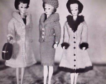 PDF Fashion Doll Vintage Knitting Patterns 11.5 Inch Shell Swim Suit Coat Dresses Skirt Three Piece Suit Cardigan PDF eBook Instant Download