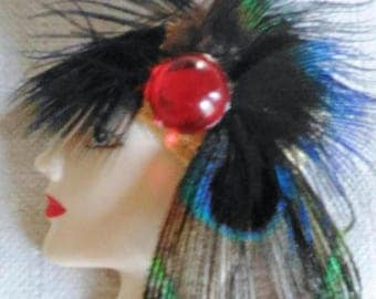 SALE Woman Lady Head Feather Brooch Red type Stone