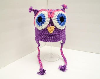 Girly Owl Hat, Little Hoot, Youth Size Pink and Purple