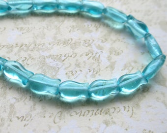 Aqua fish beads Czech pressed glass 10mm