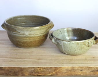 dinner party -- 2 vintage 70s ceramic bowls with handles