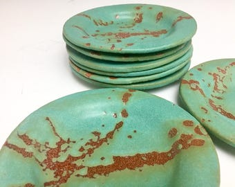 Small Plate: Jade And Crimson Collection; Saucer; Ceramic Stoneware