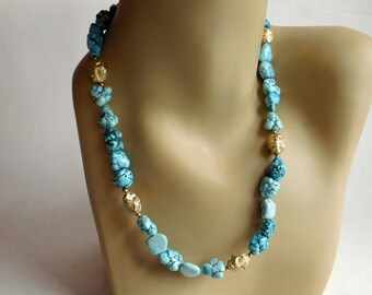 Vintage Faux Turquoise and Gold Nugget Necklace - Dyed Howlite Polished Stones - 21-Inch Necklace - Artisan Made 1980s,1990s