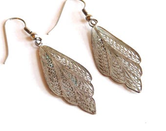 Vintage Cannetille Spun Sterling Silver Filigree Dangle Earrings - Ornate Wire Work - Early 20th Century - Intricate Leaf Shape