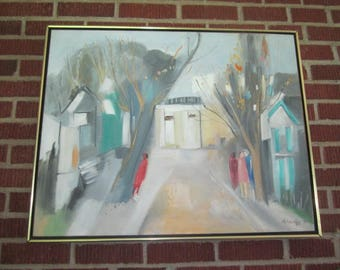 Vintage 1970s Modern Large Abstract Street Scene Signed Dated Framed Oil Painting
