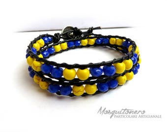 Bracelet style, craft, pearls, Chan Luu, wraps, yellow and blue, for him, beads, Beads Bracelet,