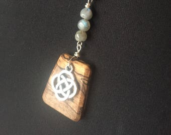 Celtic Knot Labradorite Wood Pendant Necklace Gypsy Boho Spalted wood jewelry Hemp Cord Ready to ship