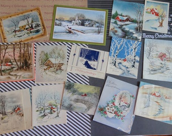 Winter Wonder with Icy Streams Bridges and Water Mill or Two in Vintage Christmas Lot No 1137 Lot of 14 Snow and Water