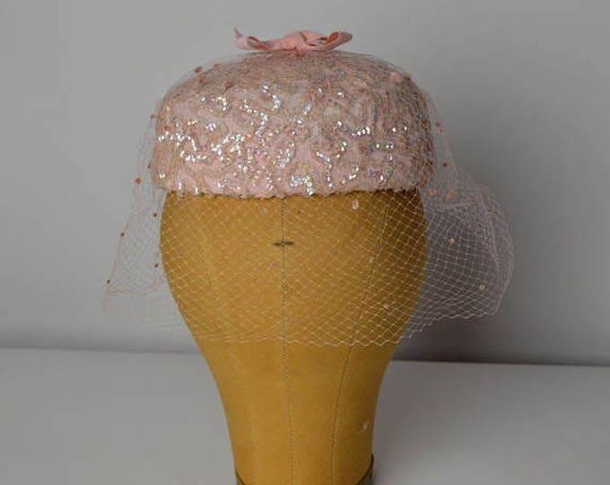 sale Vintage Hat, Pink Hat, 50's Hat, Veiled Hat, Easter Hat, Straw Hat, Pill Box Hat, 1950s Hat, Sequin Hat