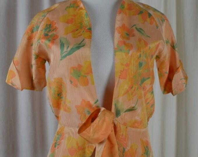 sale Vintage Jacket, 40s Jacket, Orange Jacket, Floral Jacket, Peplum Jacket, Short Sleeve Jacket, Spring Jacket, Summer Jacket, Moire Fabri