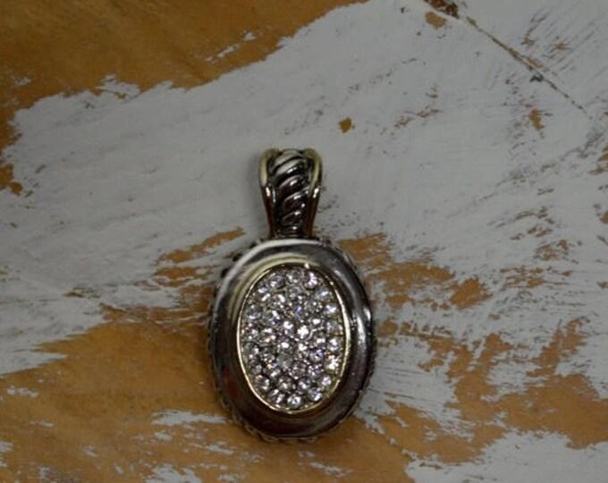 sale Vintage Pendant, Rhinestone Modern Pendant, Silver Pendant, Silver Slider, , Modern Design, Oval Shape, Designer Piece, Rope Detail