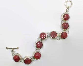 Red Jasper Bracelet, Sterling Bracelet, Mexico, Red Stone, Vintage Bracelet, Links, Linked Bracelet, Station, Sterling Silver, Big, 925