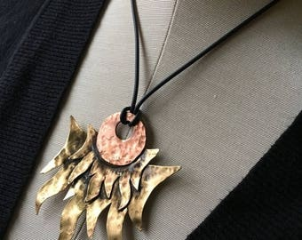 30% off Sale Day and night - flames and moon pendant necklace