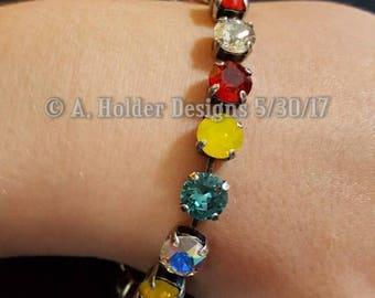 Crystal Bracelet - Multi-Color Chatons - 8 mm stone size