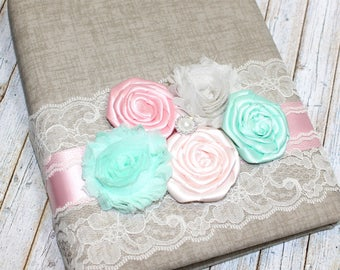 Guest Book / Baby Shower Guest Book / Advice Book / Vintage Guest Book / Vintage Baby Shower Decor / Light Pink and Mint Green / Shabby Chic