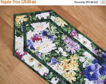 Summer Sale Quilted Table Runner Spring  Summer flowers  yellow Purple green  Quiltsy  Handmade