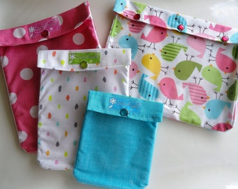 Spring Birds 4 Piece Ouch Pouch Diapers/Wipes Bag Organizers First Aid Clear Front Pockets for Gift for Mom Under 40
