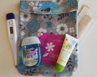 Gray & Aqua Butterfly Floral Ouch Pouch Medium 5x7 Clear First Aid Cosmetics Organizer Girls Women Baby Diaper Bag Supplies Purse Insert