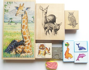 9 Rubber Stamps Animal Set Giraffe, Seal, Zebra, 2 dolphin, dove, Tiger, Deer, and Owl