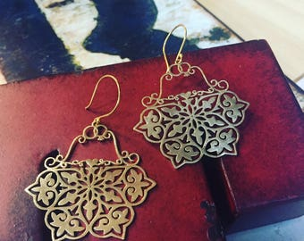 Optimus Filigree Earrings - Brass or Grey Steel