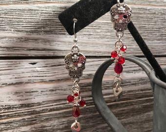 Red skull earrings #17dec831