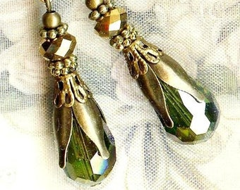 Earrings ❀ OLIVES Royal Crystal olivine gold bronze OR632 ❀