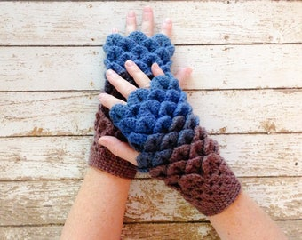 Ladies Fingerless Winter Gloves, Dragon Scale Gloves, Blue and Brown Gloves