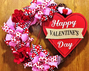 FREE SHIPPING Valentine's Day Floral Hearts - Welcome Door Grapevine Wreath