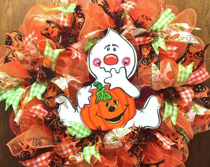 SALE- Ghost Boo Pumpkin Halloween Fall - Welcome Door Wreath