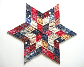 Patriotic Decor, July 4th, Americana Quilts Quilted Table Topper Quilted Candle Mat Red White Blue Rustic Home Decor Primitive Country Decor