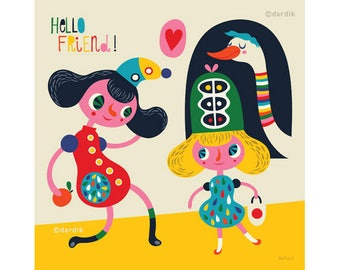 Hello Friend... limited edition giclee print of an original illustration (8 x 8 in, 20 x 20 cm)