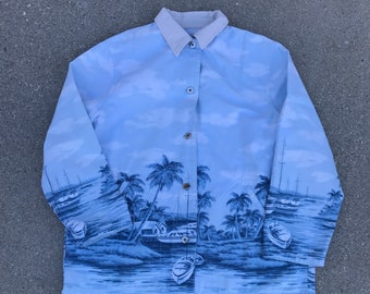 Ralph Lauren Vintage Blue Vacation Sailboat Island Print Jacket Size Large