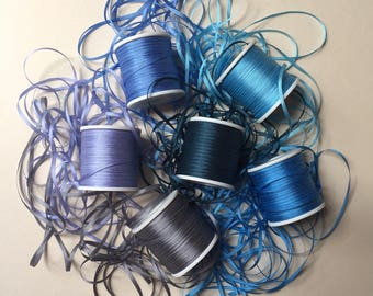 Blue and Grey mix - 18 metres of 2mm solid colour silk ribbon