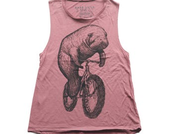 Manatee on a Bike- Womens muscle tank, Ladies Tank, Blended Tank, Handmade graphic tee, sizes S-XXL