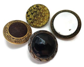 4 Antique Buttons - Large Metal Glass Perfume Button Lot 7/8 to 1 inch for Jewelry Supplies Beads Sewing Knitting