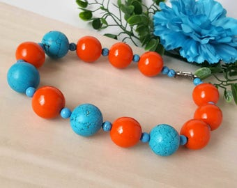 Summer party necklace big bold chunky necklace Summer outdoors Orange Turquoise necklace Summer jewelry statement colorful summer necklace