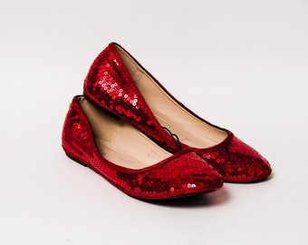 Ready 2 Ship - Size 11 Sequin Custom Red Sequin Ballet Flats Slippers Shoes
